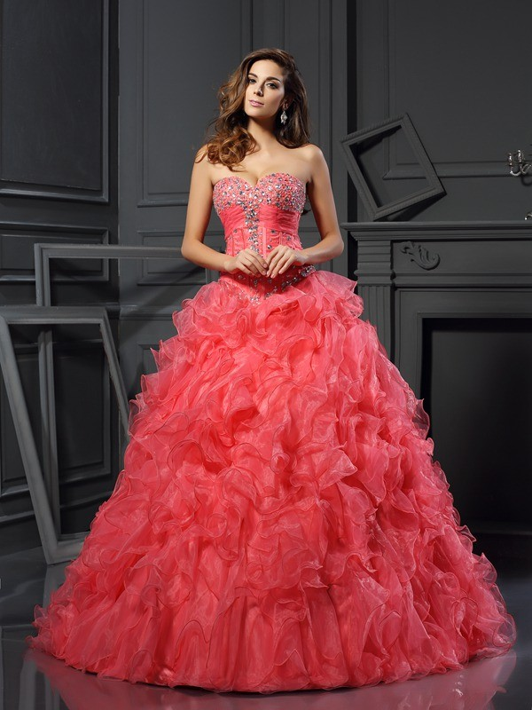 Ball Gown Sweetheart Ruffles Sleeveless Long Organza Debs Dress