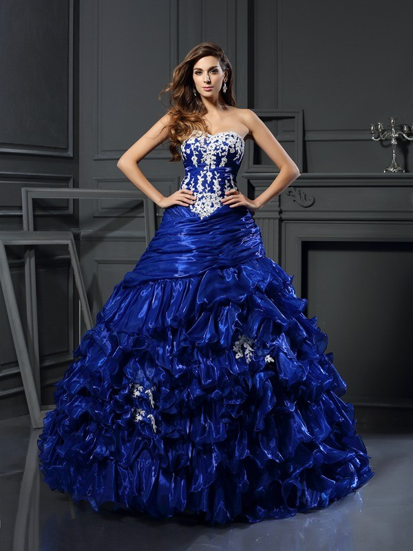 Ball Gown Sweetheart Beading Applique Sleeveless Long Tulle Debs Dress