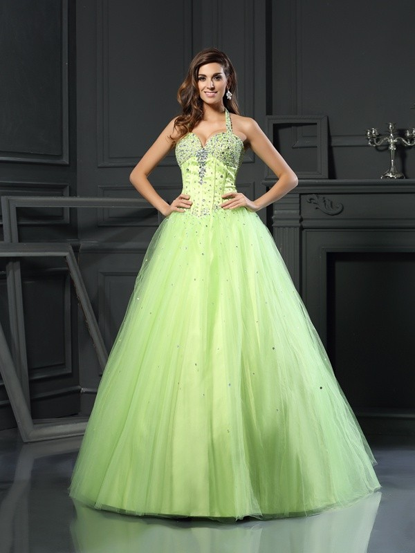 Ball Gown Halter Beading Sleeveless Long Satin Debs Dress