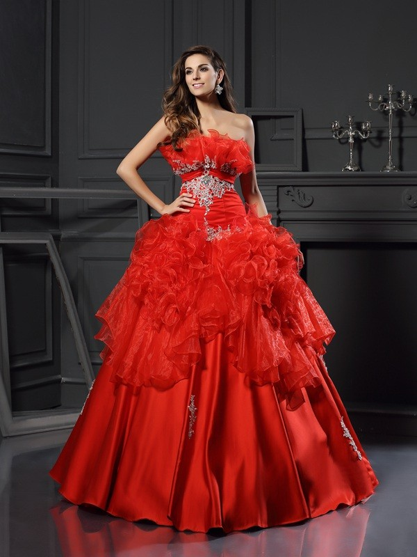 Ball Gown Strapless Ruffles Sleeveless Long Organza Debs Dress