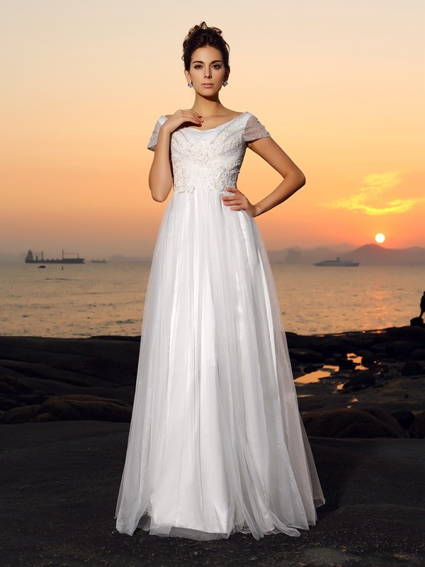 A-Line Off-the-Shoulder Beading Short Sleeves Long Tulle Beach Wedding Dresses