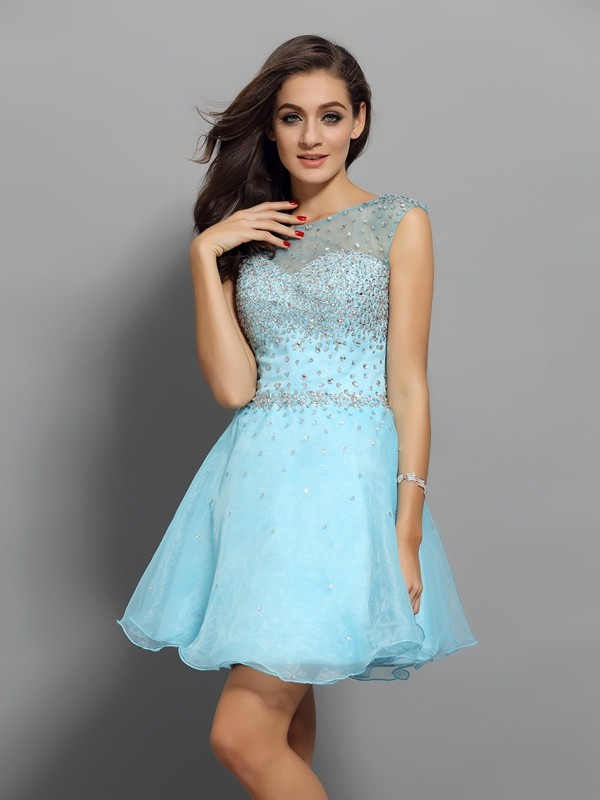 A-Line Scoop Beading Sleeveless Short Organza Cocktail Dresses