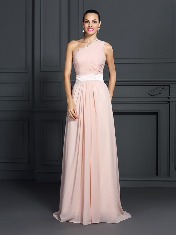 A-Line One-Shoulder Ruffles Sleeveless Long Chiffon Dresses