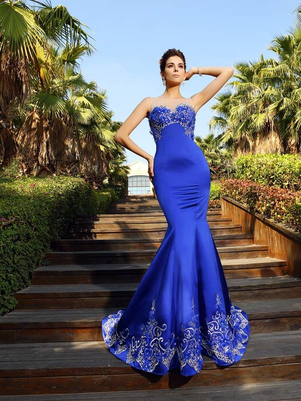 Mermaid Sweetheart Beading Sleeveless Long Satin Dresses