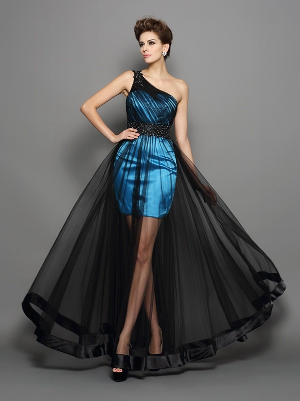 A-Line One-Shoulder Ruched Sleeveless Long Elastic Woven Satin Dresses