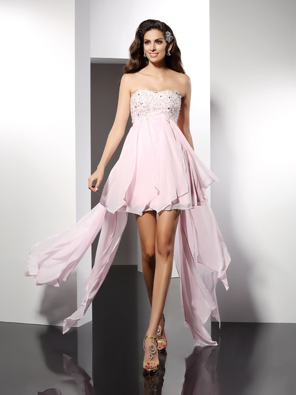 A-Line Sweetheart Applique Sleeveless High Low Chiffon Cocktail Dresses