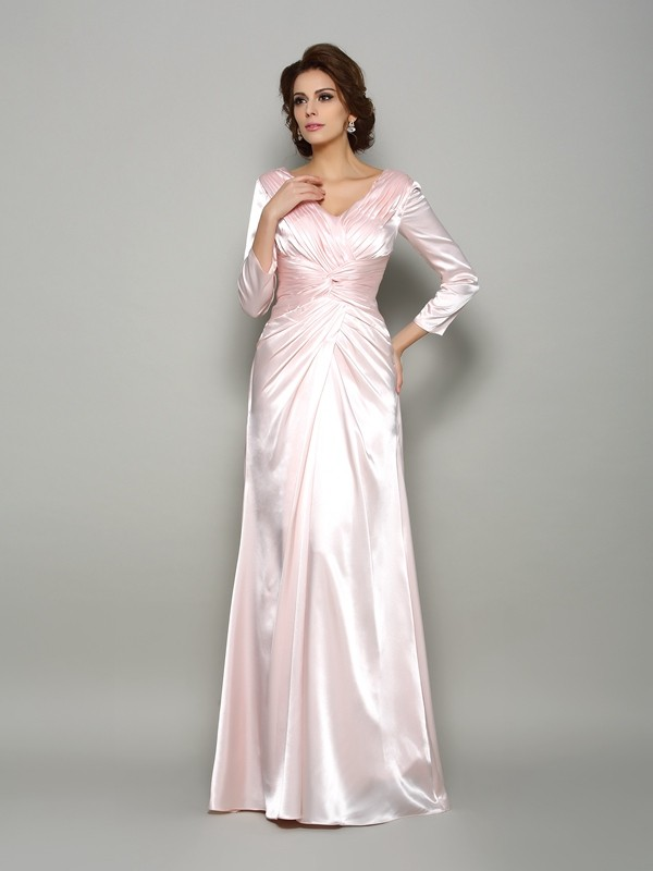 A-Line V-neck Ruched Long Sleeves Long Silk like Satin Dresses
