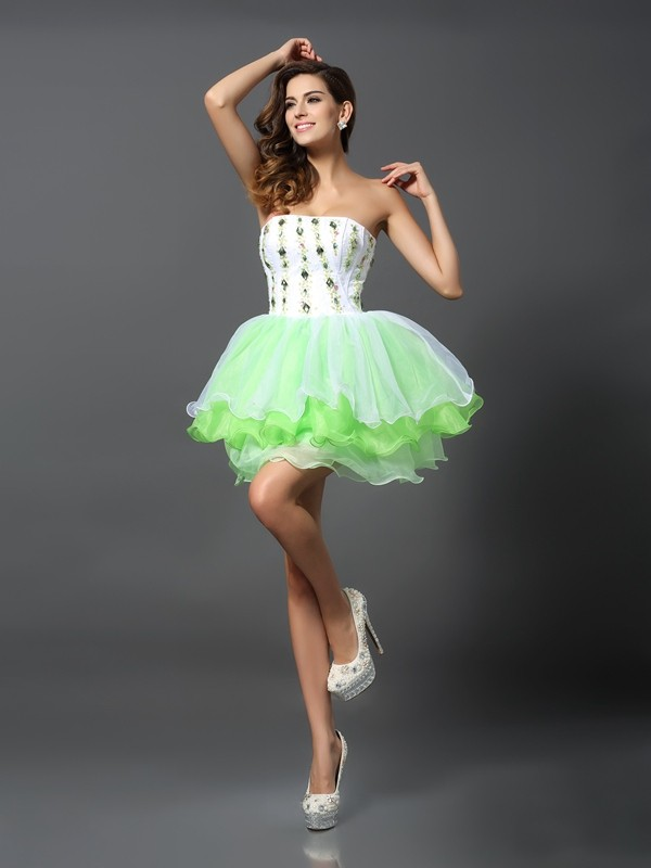 A-Line Strapless Ruffles Sleeveless Short Organza Cocktail Dresses