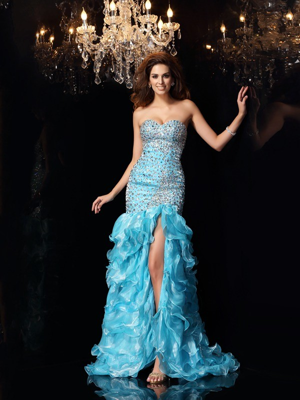 Mermaid Sweetheart Beading Sleeveless High Low Organza Dresses