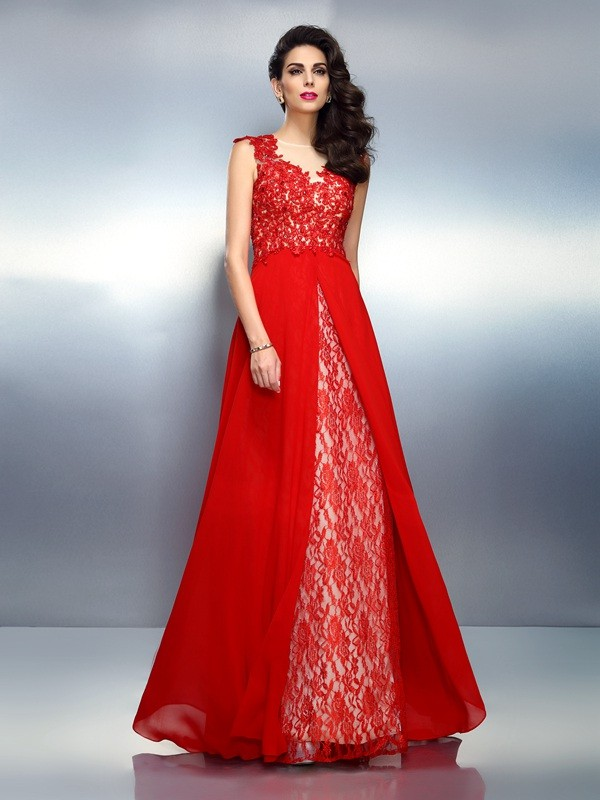 A-Line Bateau Applique Sleeveless Long Net Dresses