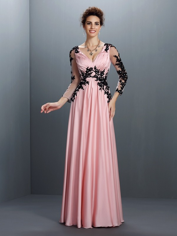 A-Line V-neck Applique 3/4 Sleeves Long Chiffon Dresses