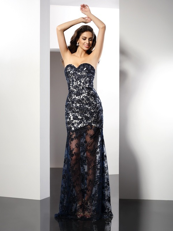 Sheath Sweetheart Lace Sleeveless Long Satin Dresses