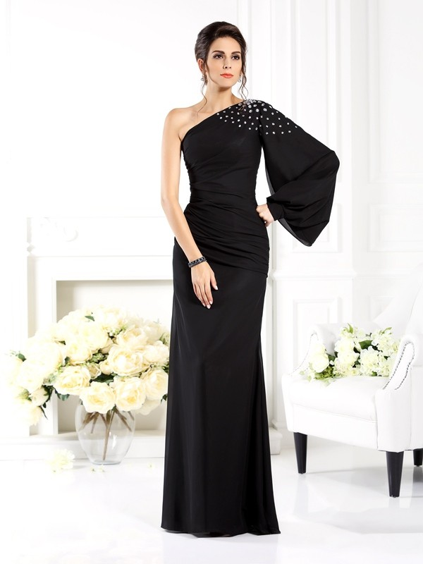 Sheath One-Shoulder Beading Long Sleeves Long Chiffon Dresses