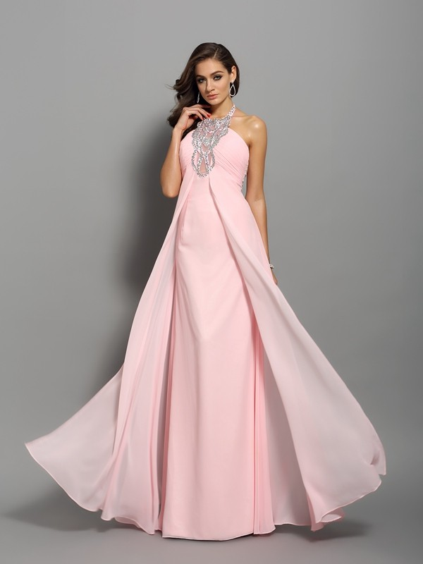 Sheath High Neck Beading Sleeveless Long Chiffon Dresses