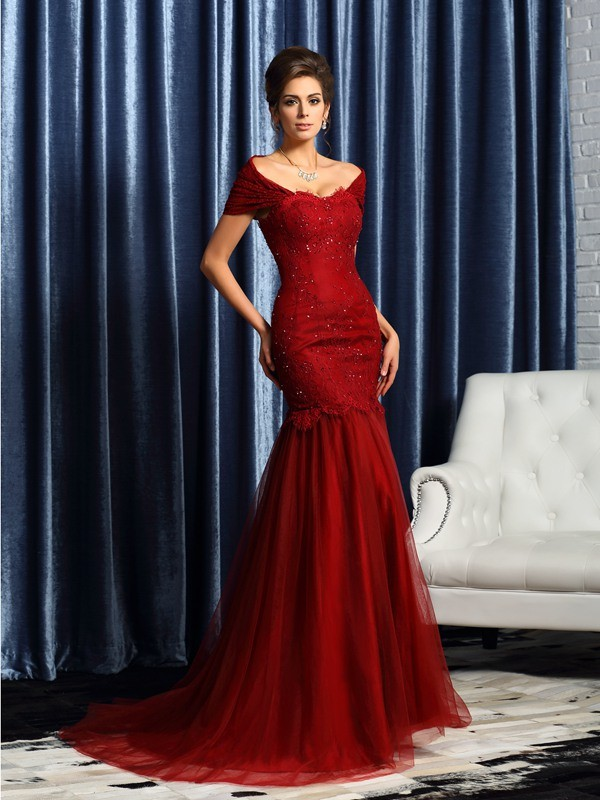 Mermaid Off-the-Shoulder Beading Short Sleeves Long Satin Dresses