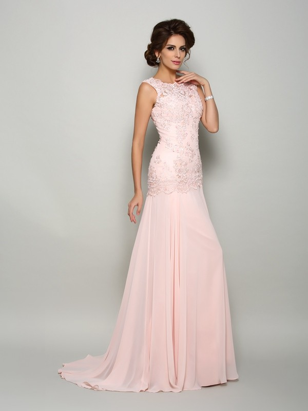 Attractive Mermaid Scoop Sleeveless Chiffon With Beading Sweep/Brush Train Dresses