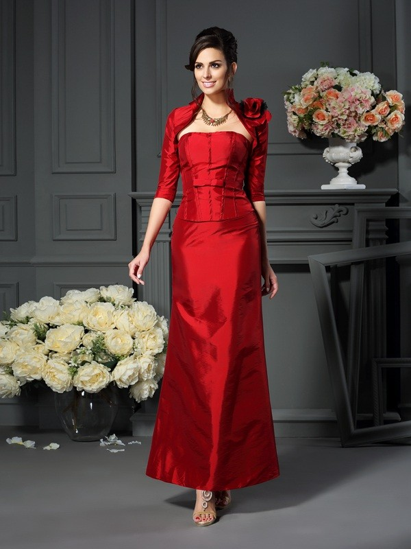 A-Line Strapless Hand-Made Flower Sleeveless Long Taffeta Dresses