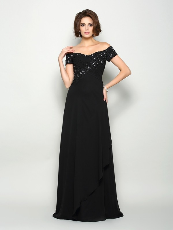 A-Line Off-the-Shoulder Beading Short Sleeves Long Chiffon Dresses