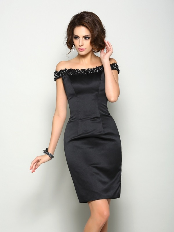 Sheath Off-the-Shoulder Beading Sleeveless Short Satin Dresses