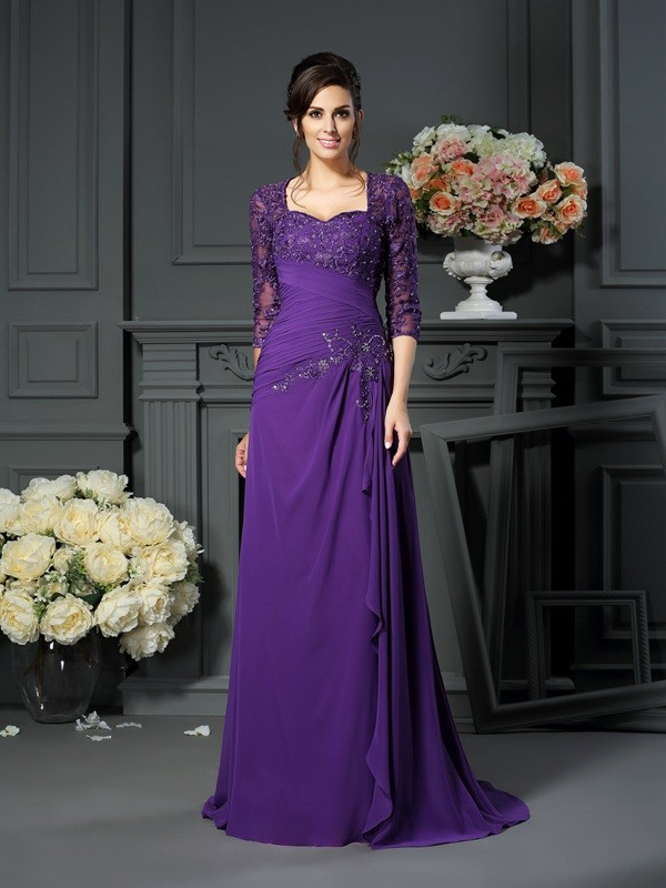 Fabulous A-Line Sweetheart 1/2 Sleeves With Applique Long Chiffon Dresses