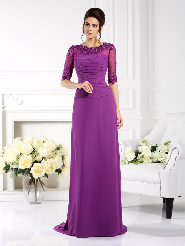 Sheath Scoop Applique 1/2 Sleeves Long Chiffon Dresses