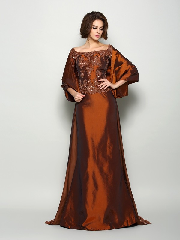 A-Line Off-the-Shoulder Beading 1/2 Sleeves Long Taffeta Dresses