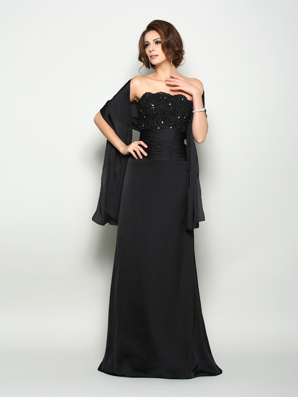 A-Line Strapless Beading Sleeveless Long Chiffon Dresses