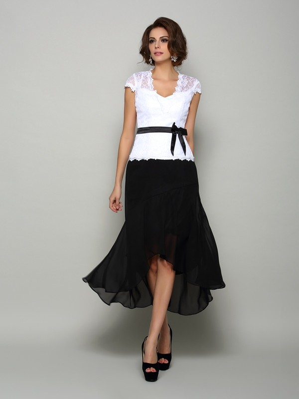 A-Line V-neck Sash/Ribbon/Belt Sleeveless High Low Chiffon Dresses