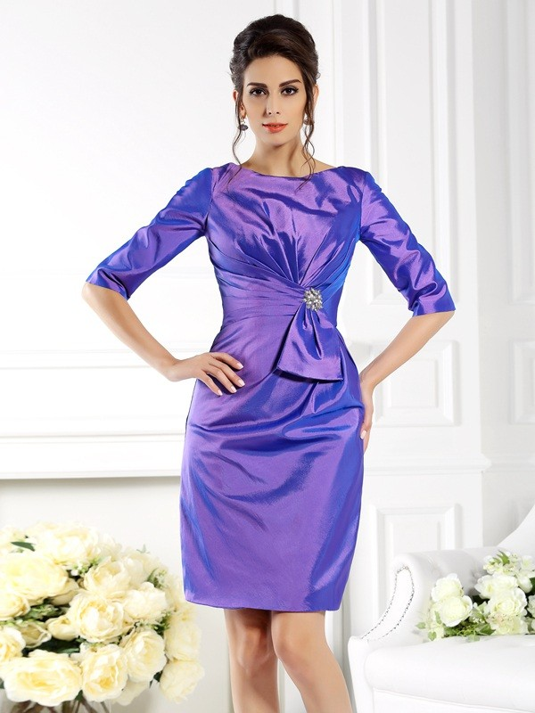 Sheath Bateau 1/2 Sleeves Short Taffeta Dresses