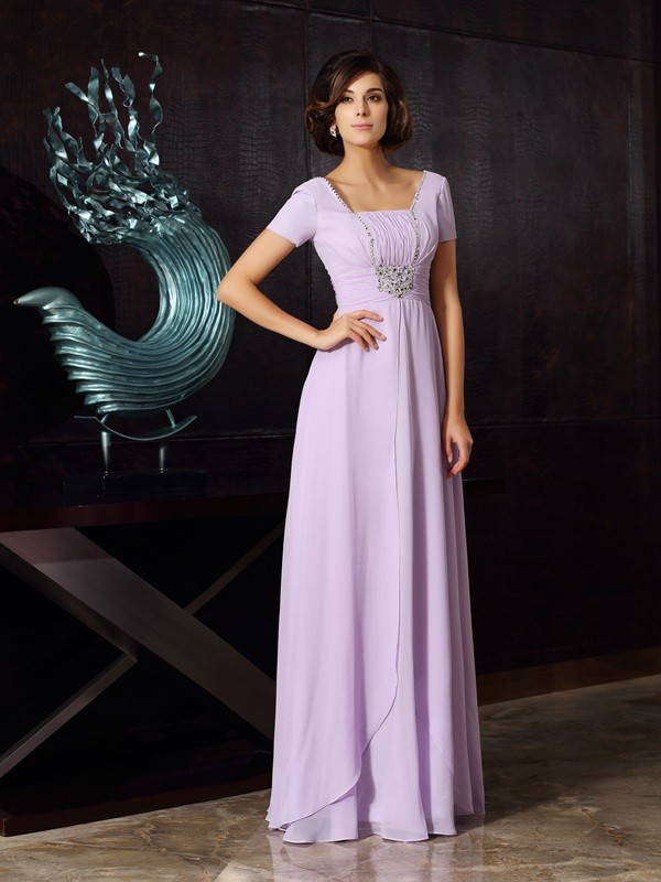 A-Line Square Beading Sleeveless Long Chiffon Dresses