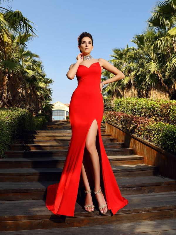 Sheath High Neck Beading Sleeveless Long Spandex Dresses