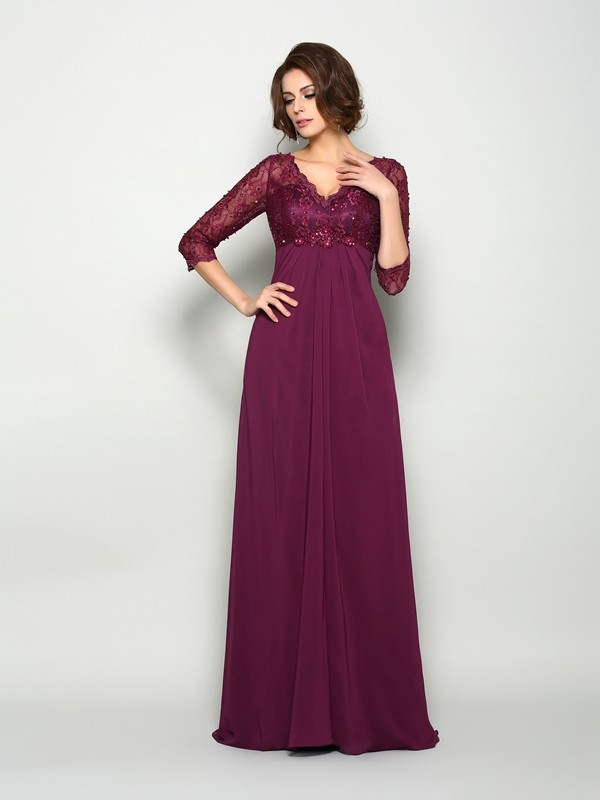A-Line V-neck Beading 3/4 Sleeves Long Chiffon Dresses