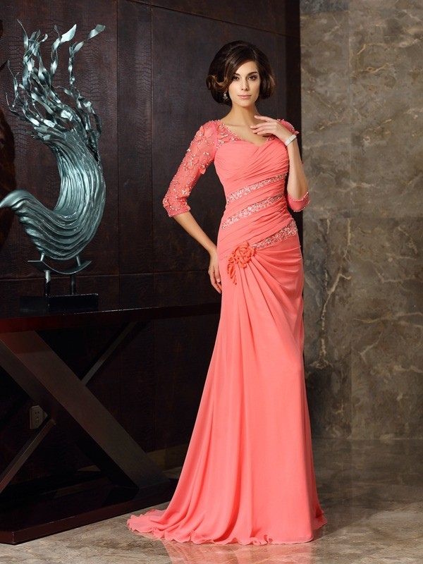Mermaid Sweetheart 1/2 Sleeves Long Chiffon Dresses