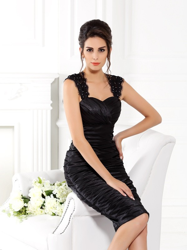 Sheath Straps Sleeveless Short Taffeta Dresses