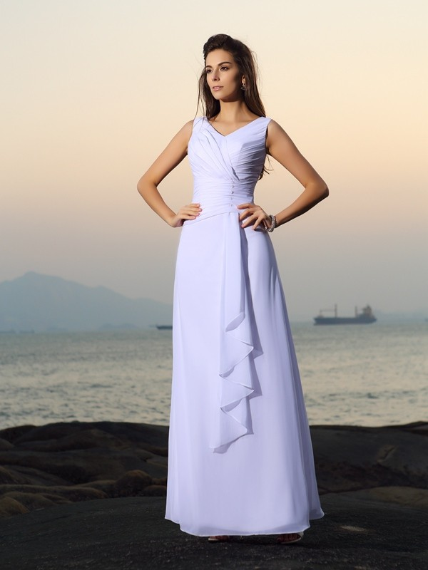 A-Line V-neck Pleats Sleeveless Long Chiffon Beach Wedding Dresses