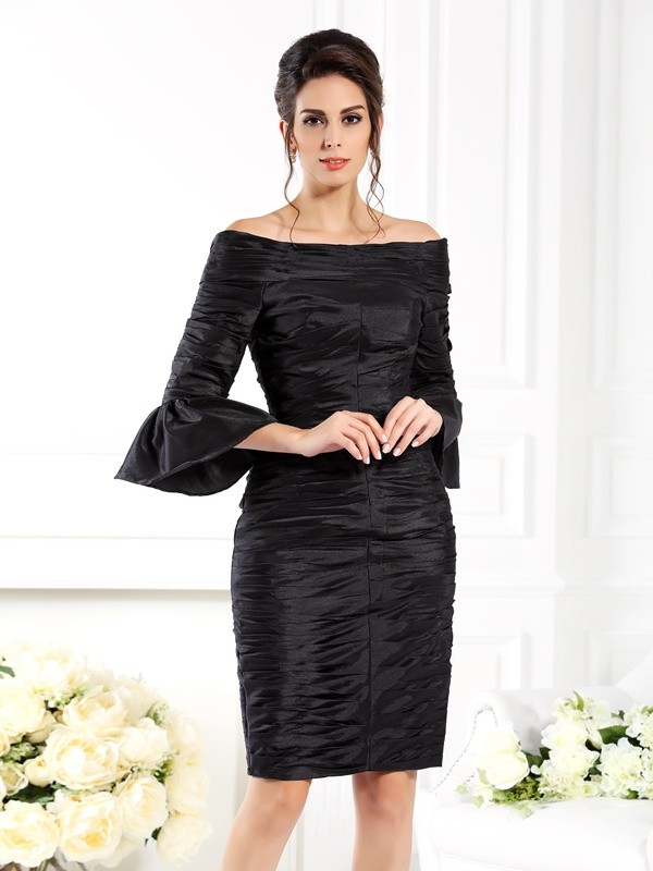 Sheath Off-the-Shoulder Ruched 1/2 Sleeves Short Taffeta Dresses