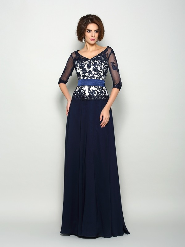 A-Line V-neck Beading 1/2 Sleeves Long Chiffon Dresses