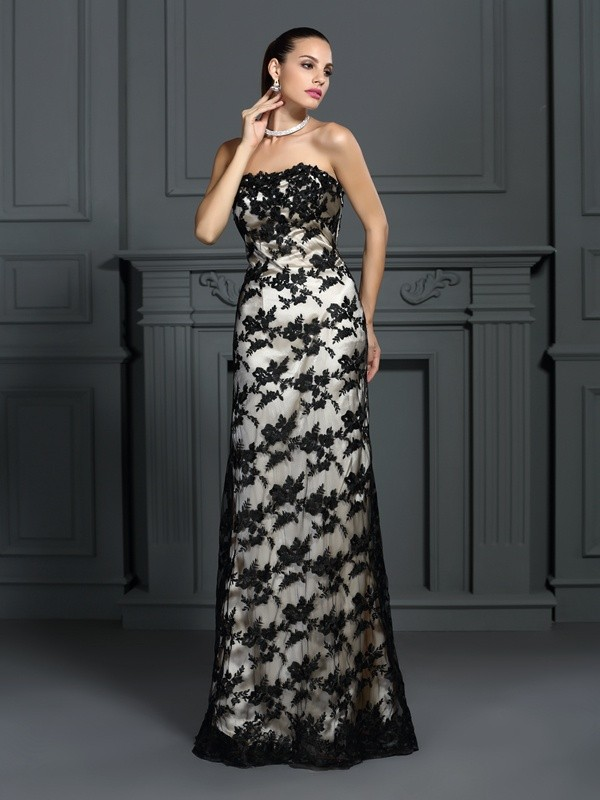 Sheath Strapless Lace Sleeveless Long Elastic Woven Satin Dresses