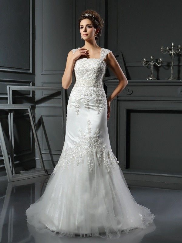 Mermaid Straps Applique Sleeveless Long Satin Wedding Dresses