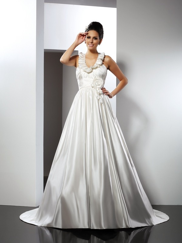 A-Line Halter Hand-Made Flower Sleeveless Long Satin Wedding Dresses