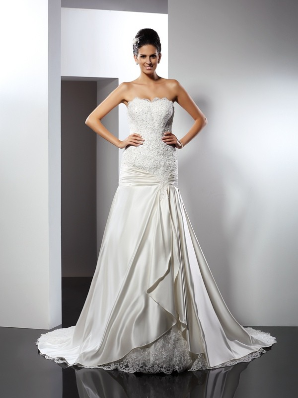 Mermaid Sweetheart Applique Sleeveless Long Satin Wedding Dresses