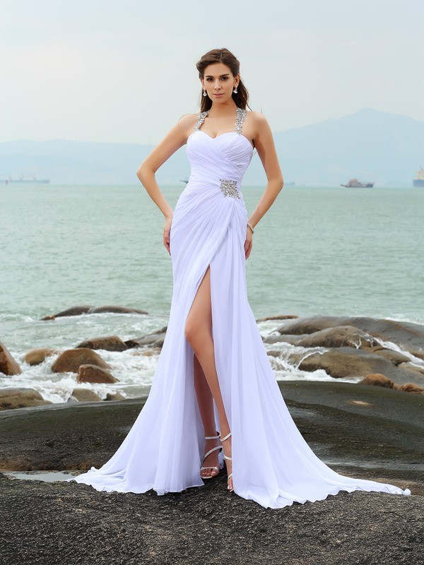 Sheath Straps Beading Sleeveless Long Chiffon Beach Wedding Dresses