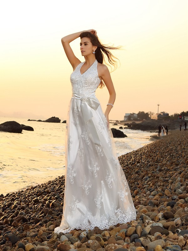 A-Line Halter Sash/Ribbon/Belt Sleeveless Long Lace Beach Wedding Dresses