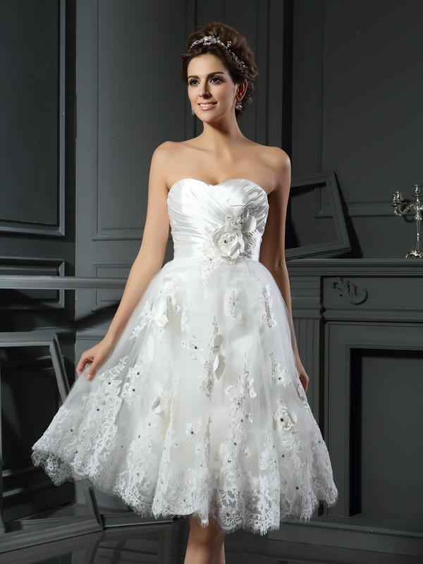 A-Line Sweetheart Ruched Sleeveless Short Satin Wedding Dresses