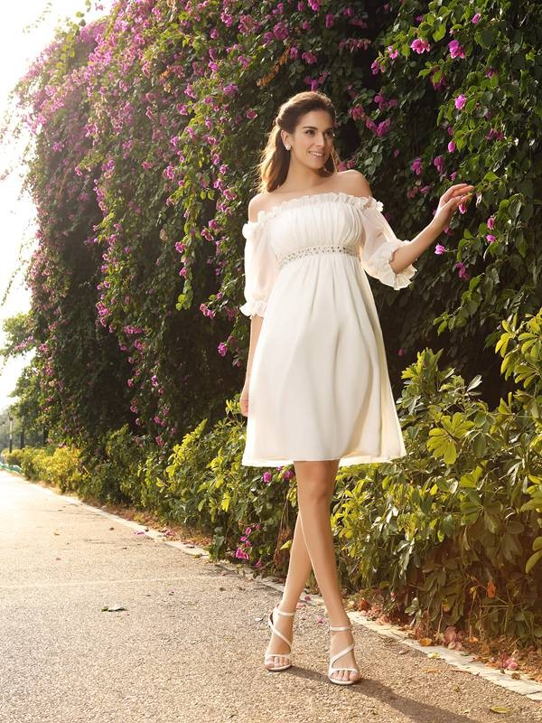 A-Line Off-the-Shoulder Beading 1/2 Sleeves Short Chiffon Wedding Dresses