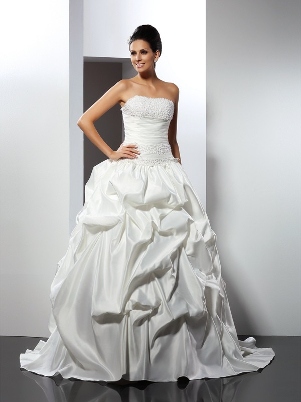 Ball Gown Strapless Sleeveless Long Satin Wedding Dresses