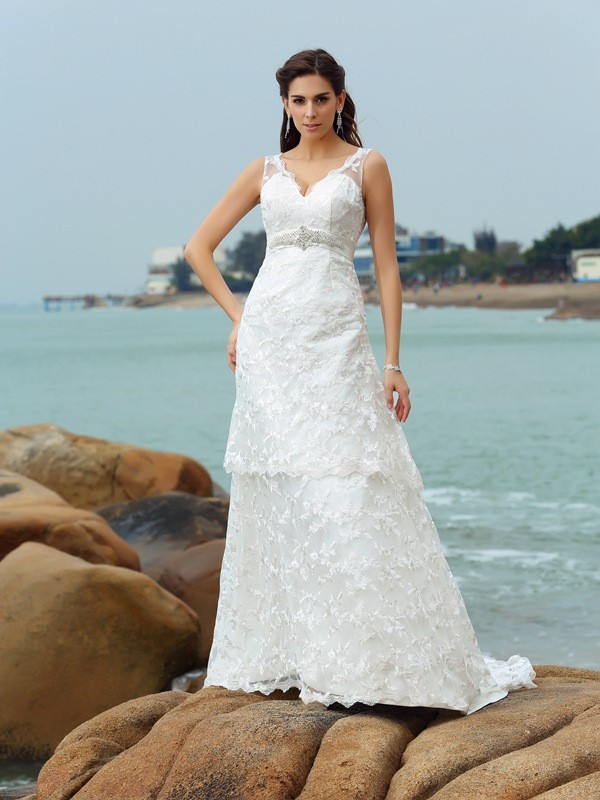 A-Line Straps Applique Sleeveless Long Satin Beach Wedding Dresses