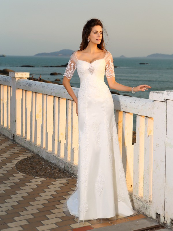 Sheath Sweetheart Applique Short Sleeves Long Satin Beach Wedding Dresses