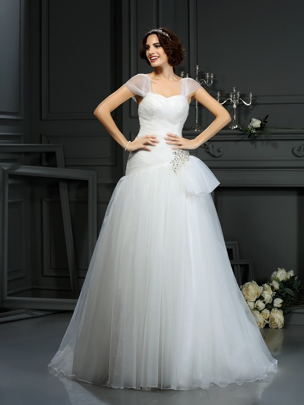 A-Line Sweetheart Beading Sleeveless Long Organza Wedding Dresses