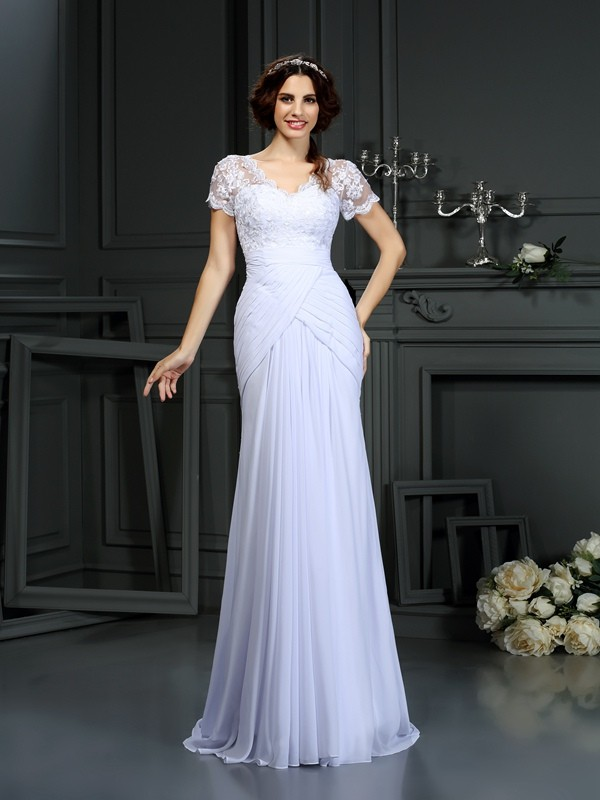 Sheath V-neck Lace Short Sleeves Long Chiffon Wedding Dresses